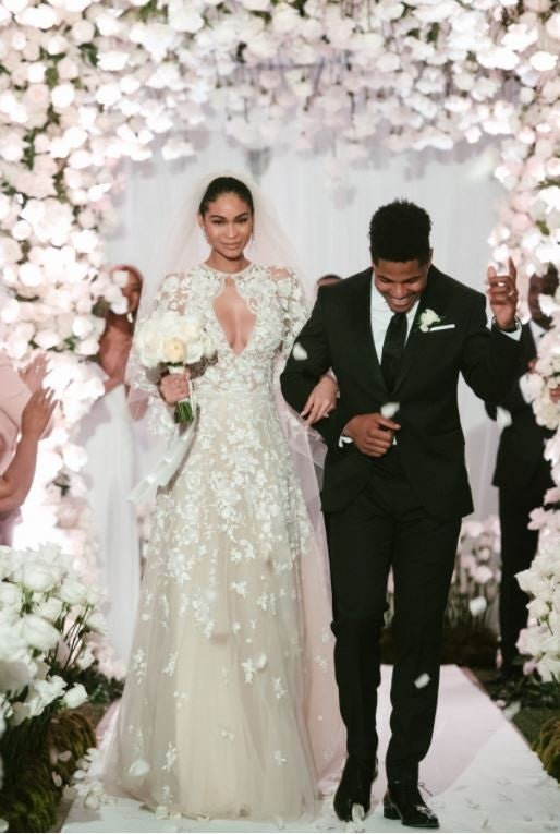Chanel Iman and Sterling Shepard walk down the aisle 2018