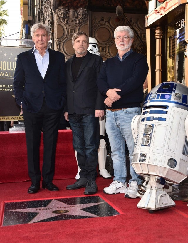 Harrison Ford Mark Hamill and George Lucas at the Hollywood Walk of Fame Ceremony