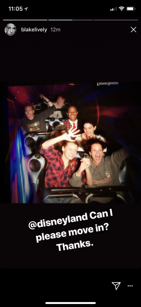 Blake Lively and sister Robyn Lively ride a roller coaster at Disneyland.