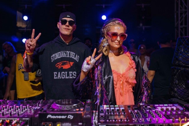 Paris Hilton and fiancé Chris Zylka in Miami