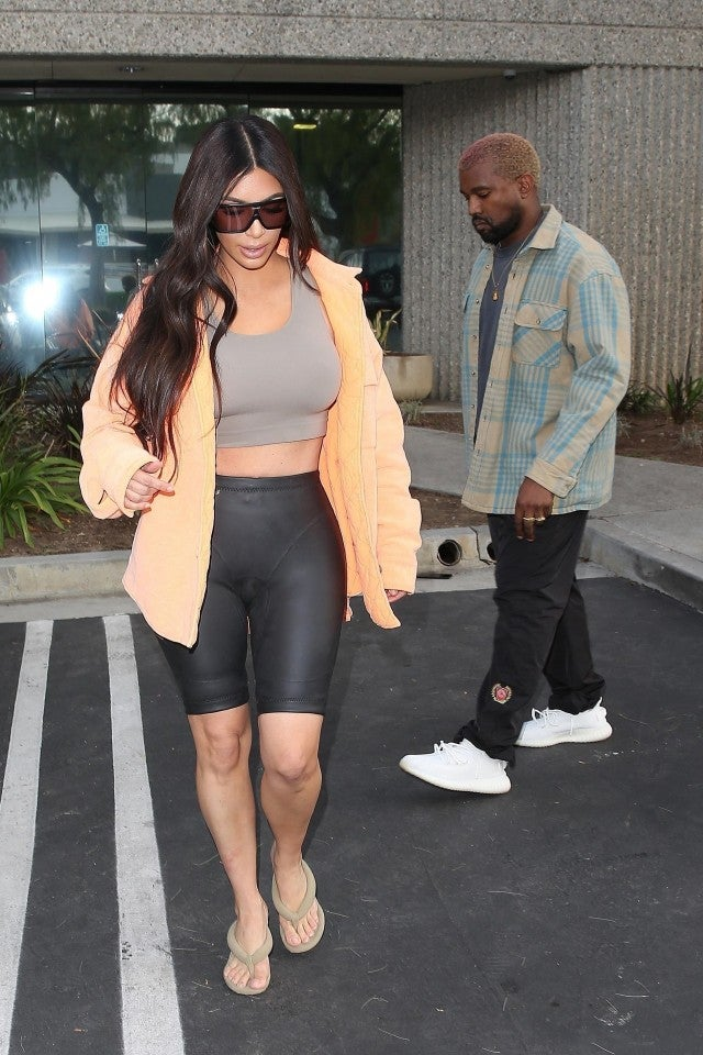 Kim Kardashian visits husband Kanye West at a studio in Calabasas, California.