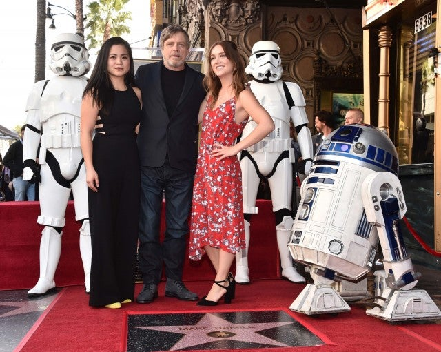 Kelly Marie Tran and Billie Lourd support Mark Hamill at his Walk of Fame Ceremony in Hollywood.
