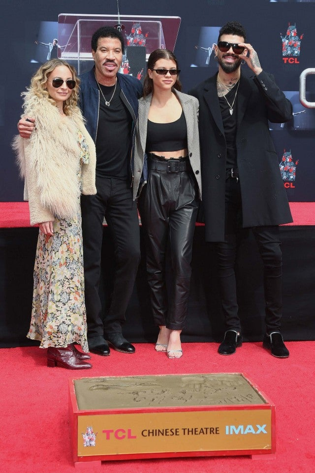 Nicole Richie, Lionel Richie, Sofia Richie and Miles Richie at the handprint ceremony in Hollywood