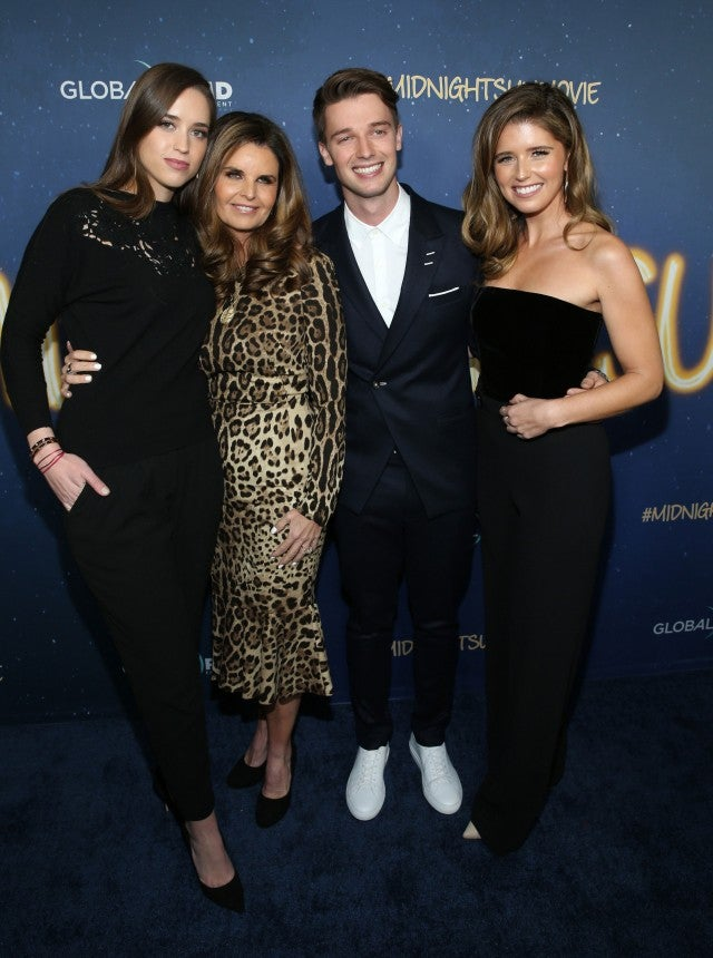 Patrick Schwarzenegger, his mom and sisters at the 'Midnight Sun' premiere in Hollywood