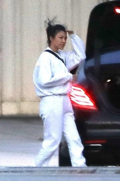 Kourtney Kardashian returns to California after sister Khloe gave birth in Cleveland
