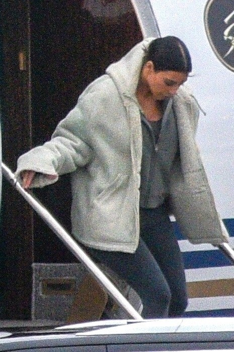 Kim Kardashian flies into Cleveland to visit Khloe and their new niece, True
