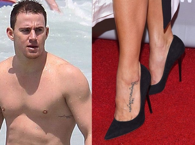 Channing tatum and jenna dewan still have the matching for Channing tatum tattoo side by side