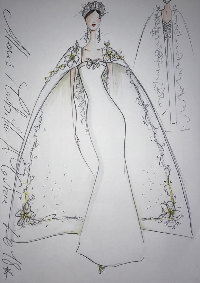 Alexis Mabille's potential Meghan Markle wedding dress sketch.