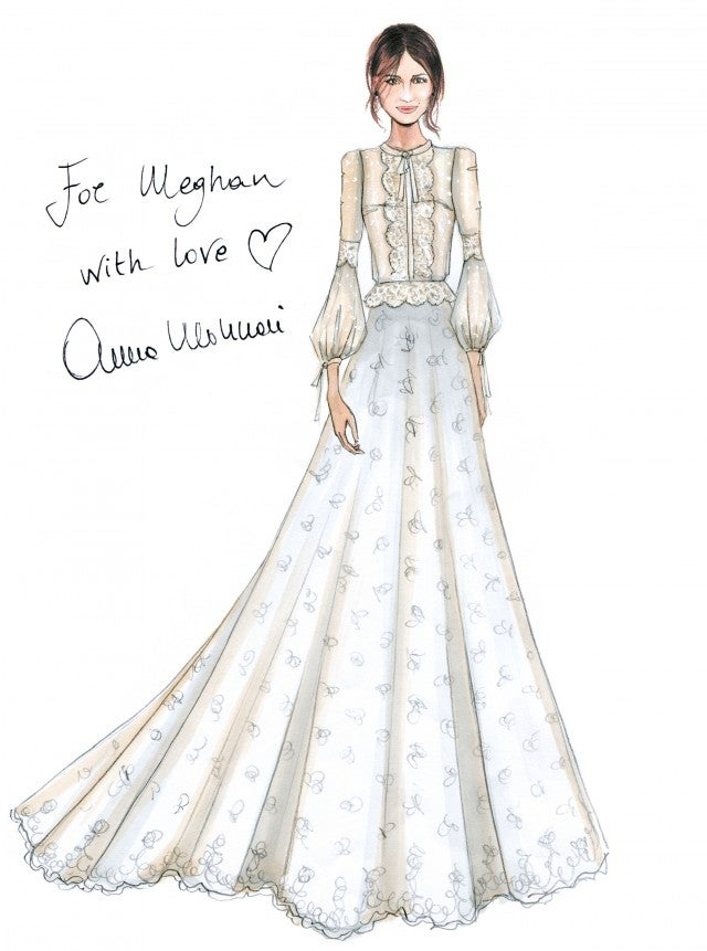 Blumarine's Meghan Markle potential wedding dress sketch.
