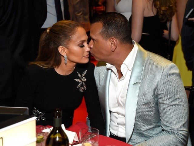Jennifer Lopez and Alex Rodriguez at Robin Hood charity event