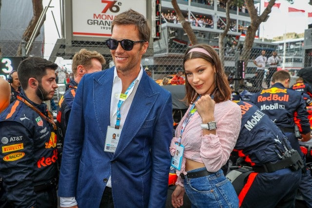 Tom Brady and model Bella Hadid are seen during the Monaco Formula One Grand Prix at Circuit de Monaco on May 27, 2018 in Monte-Carlo, Monaco.