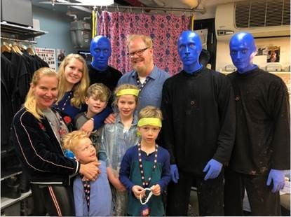 Jim Gaffigan and blue man group