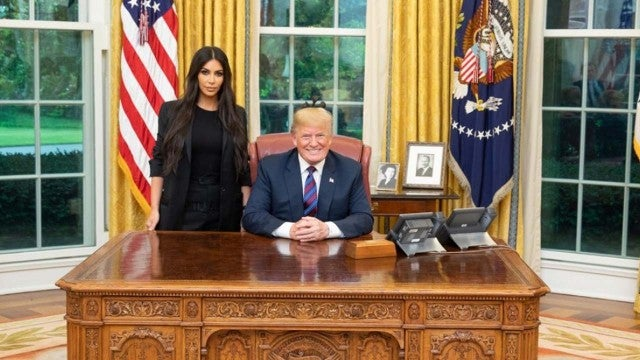 Kim Kardashian and President Donald Trump in the White House Oval Office on May 30
