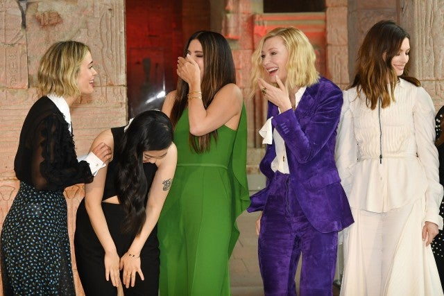 Sarah Paulson, Awkwafina, Sandra Bullock, Cate Blanchett and Anne Hathaway attend the 'Ocean's 8' worldwide photo call at The Metropolitan Museum of Art on May 22, 2018 in New York City.