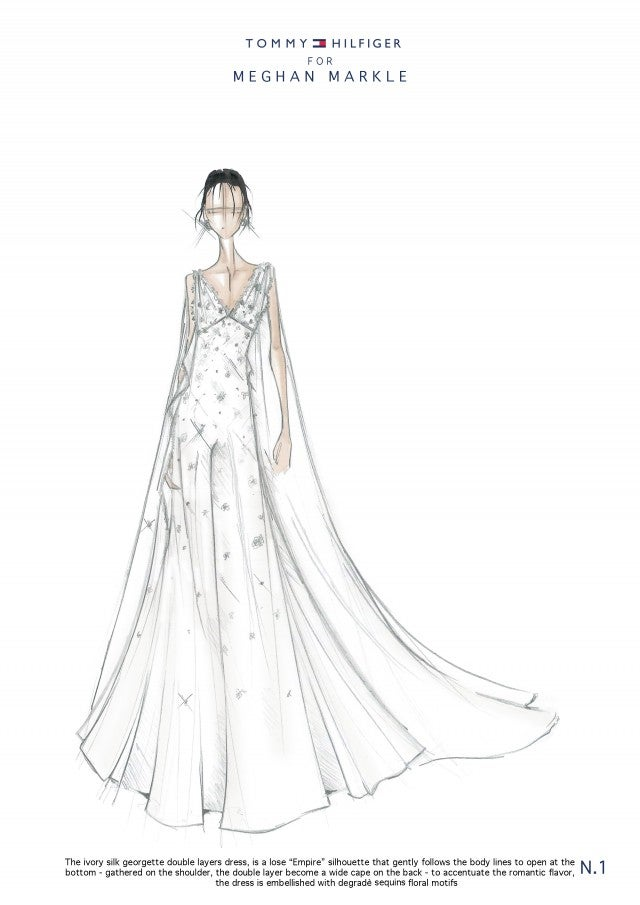 Tommy Hilfiger's Meghan Markle potential wedding dress sketch.