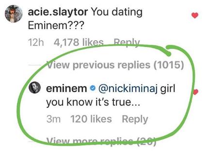 Eminem seemingly confirming he's dating Nicki Minaj
