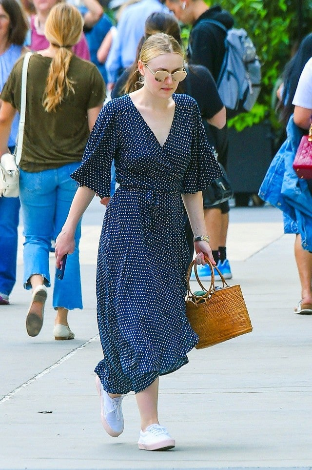 Dakota Fanning blue dotted dress
