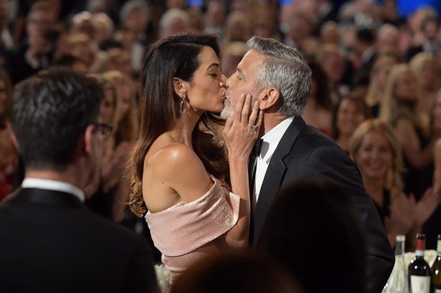 George and Amal Clooney Kiss AFI Gala