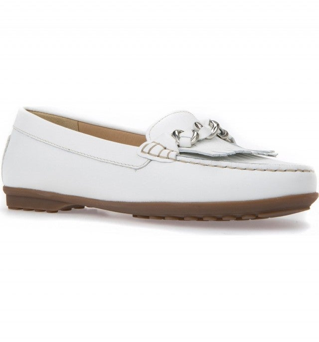 Geox white leather moccasin shoes