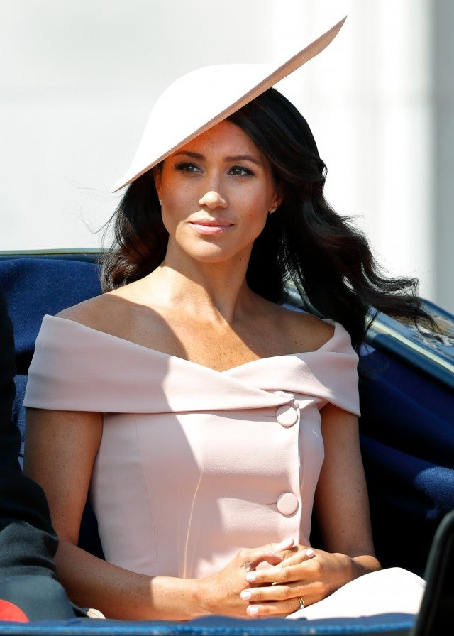 Meghan Markle in pink off-the-shoulder outfit