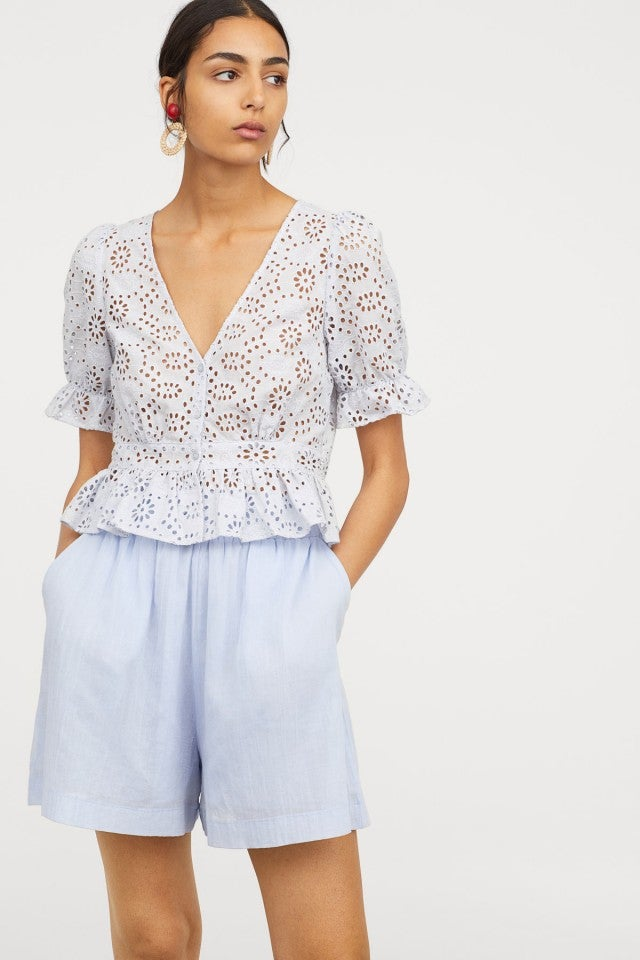H&M eyelet puffy shoulder top