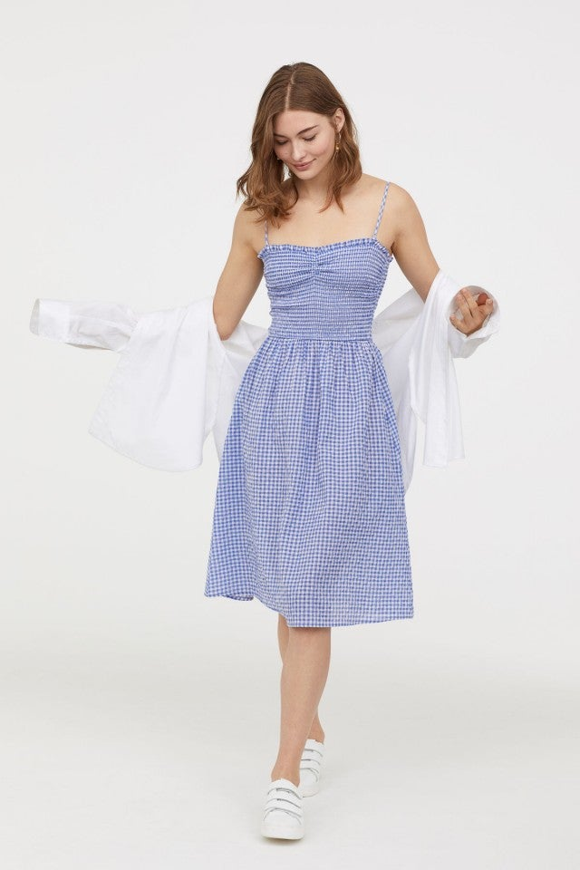H&M blue smocked summer dress