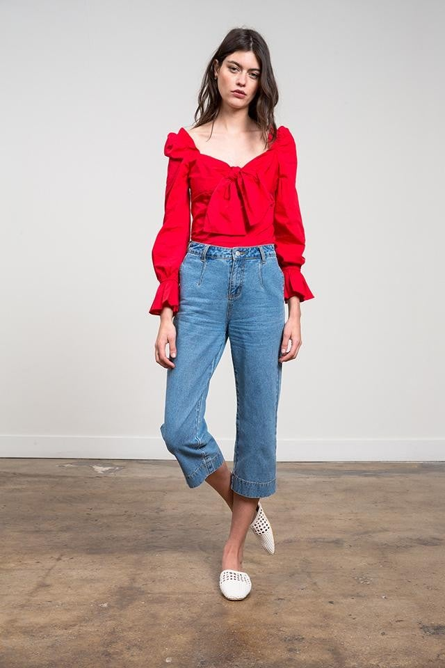 Lucy Paris red puffy shoulder top