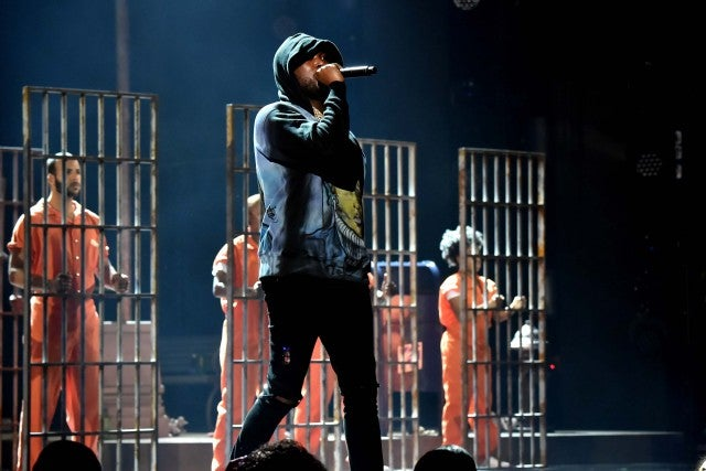 Meek Mill performs on stage at the 2018 BET Awards in LA on June 24