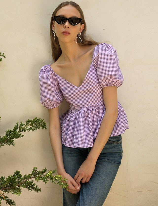 Pixie Market purple gingham puffy shoulder top