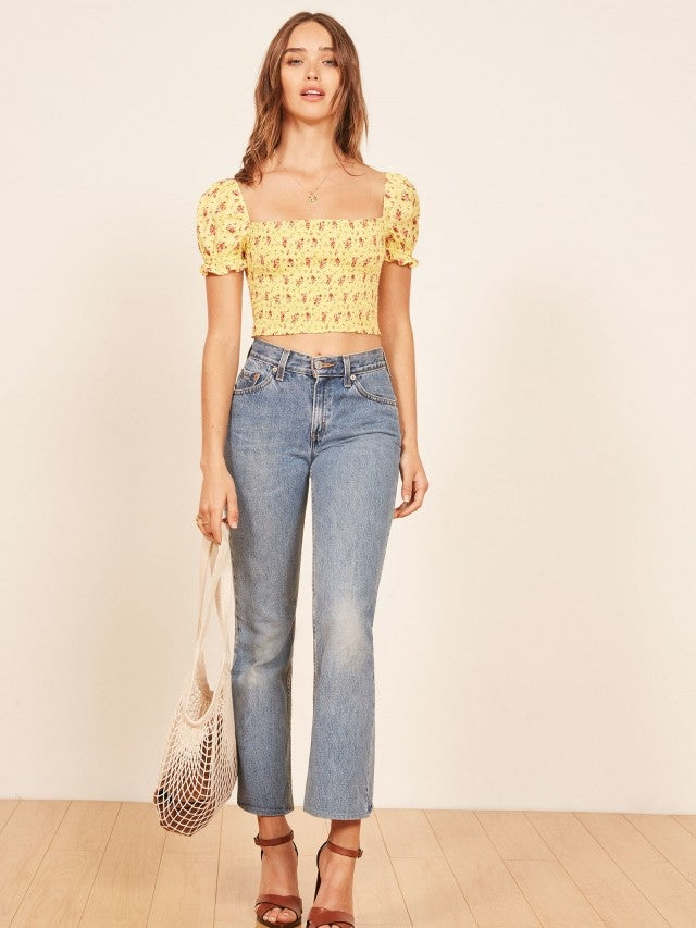 Reformation yellow floral puffy shoulder top