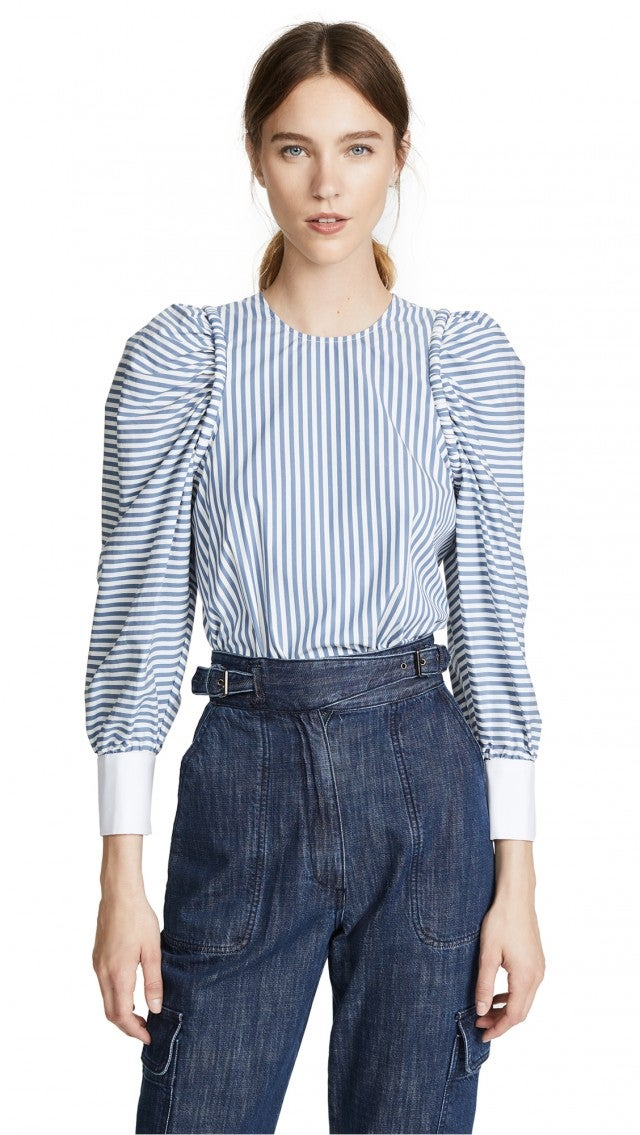 Sea striped puffed shoulder top