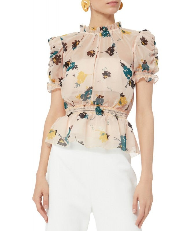 Self-Portrait sheer floral puffy shoulder top
