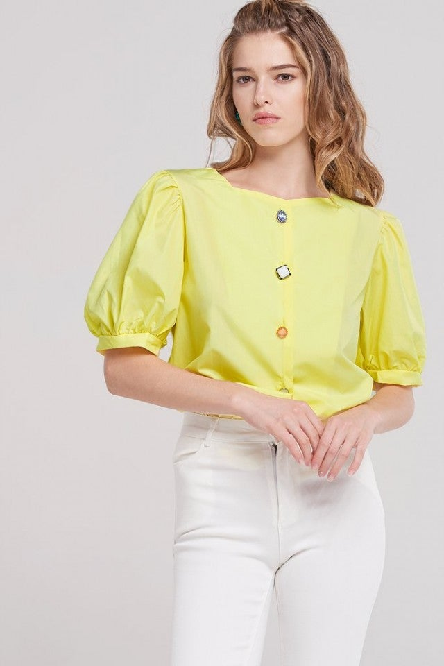 Storets yellow puffy shoulder top