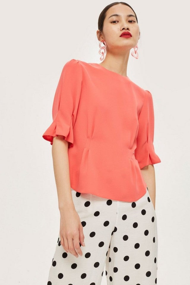 Topshop coral puffy shoulder top