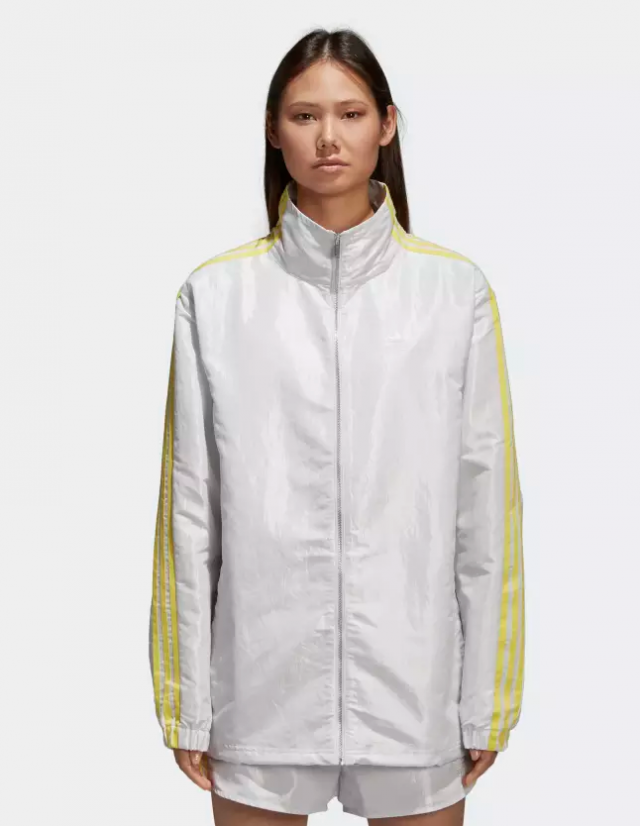 Adidas white and yellow windbreaker