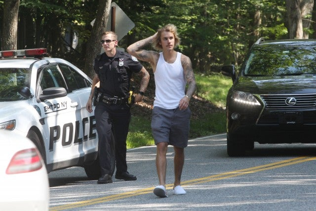 Justin Bieber and Hailey 1st Earl Baldwin of Bewdley automobile breaks down whereas in The Hamptons on July 2