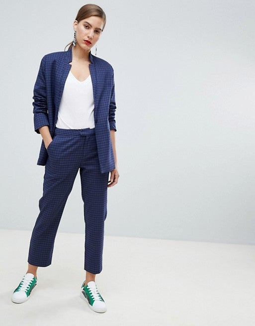 Custommade blue check pantsuit