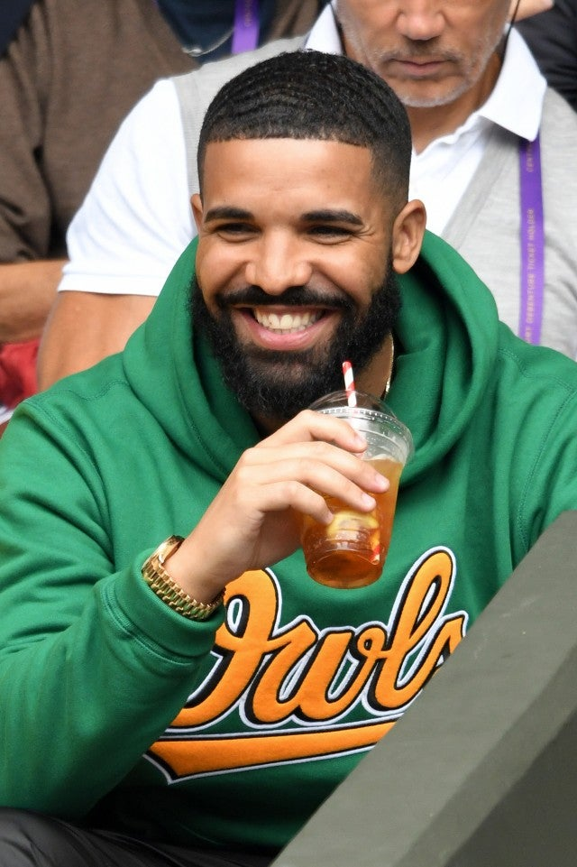 Drake attends day eight of the Wimbledon Tennis Championships at the All England Lawn Tennis and Croquet Club on July 10, 2018 in London, England.