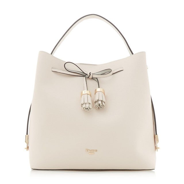 Dune London white leather tote