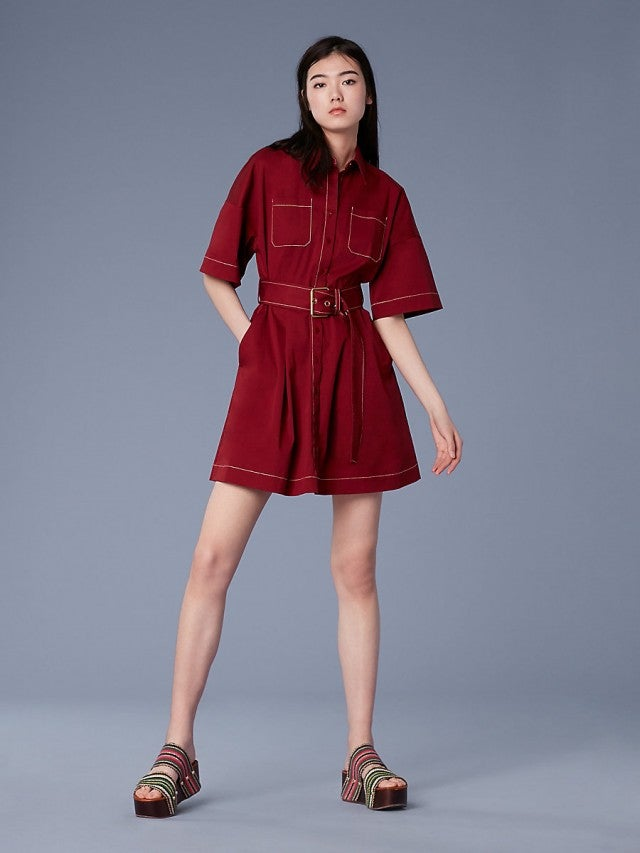DVF burgundy shirtdress