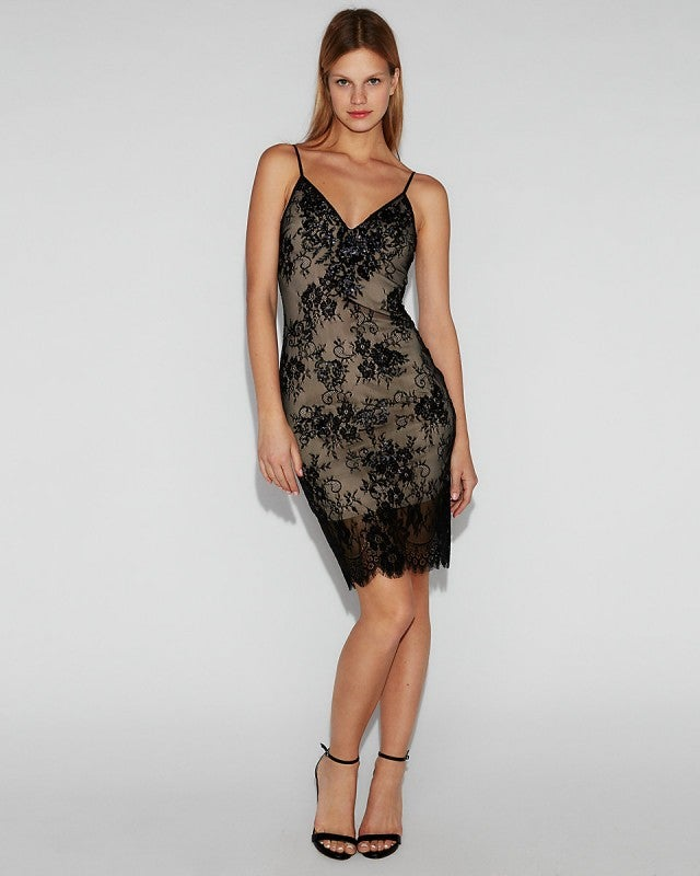 Express Embellished Floral Lace Cami Dress