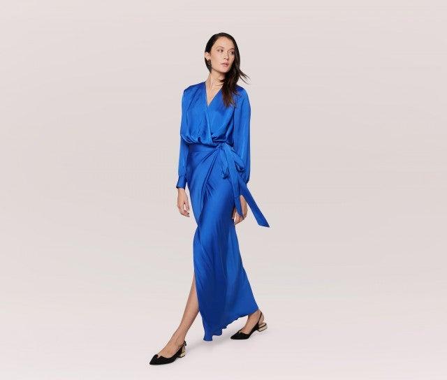 Fame and Partners blue satin wrap dress