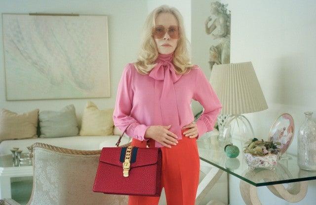 Faye Dunaway Gucci pink blouse