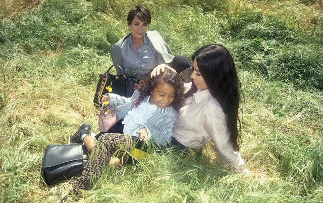 Kim Kardashian, Kris Jenner, North West in Fendi campaign in the grass