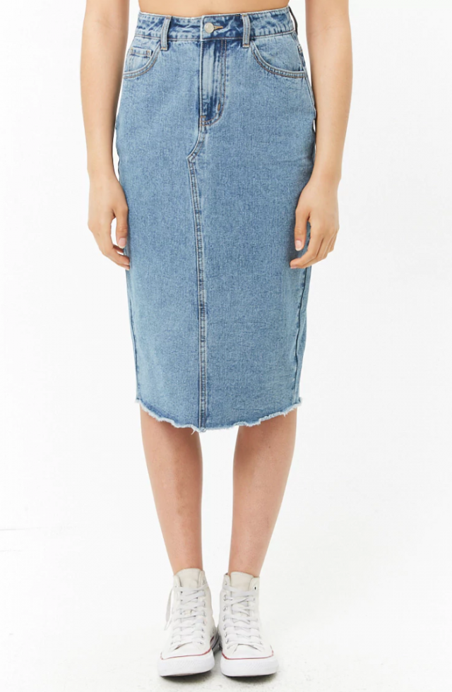 Forever 21 denim midi skirt