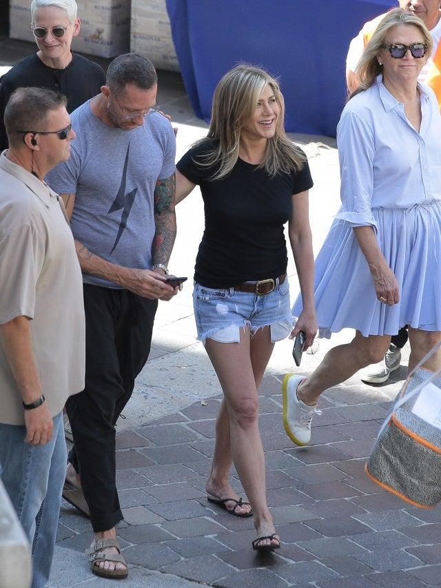 Jennifer Aniston Wears Daisy Dukes On Set In Italy