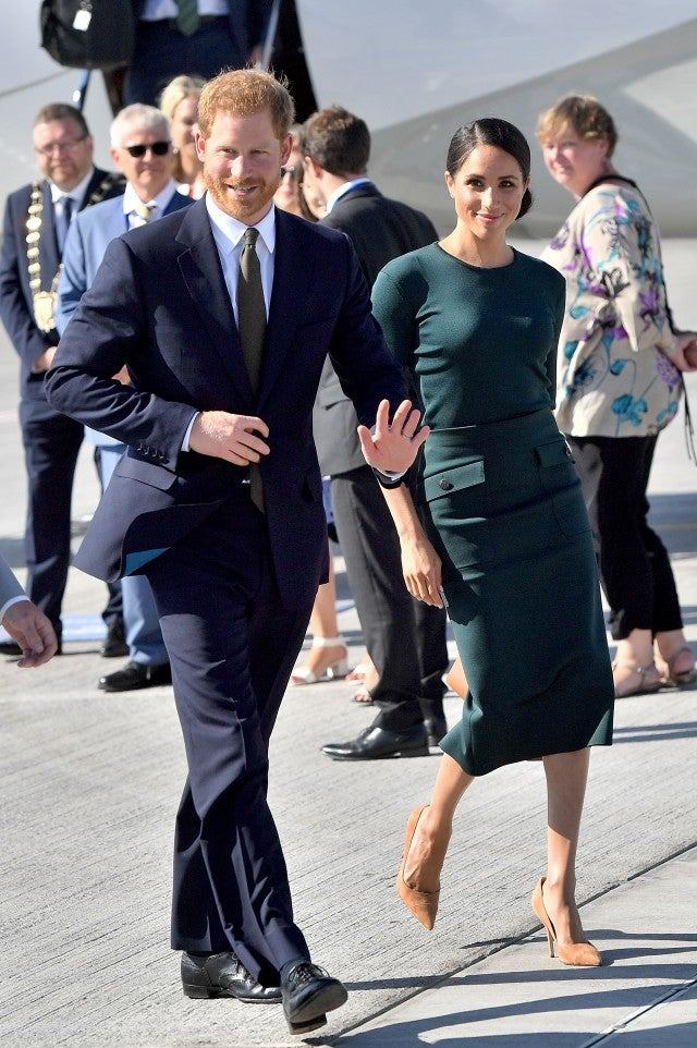 Meghan Markle green Givenchy dress in Ireland with Prince Harry