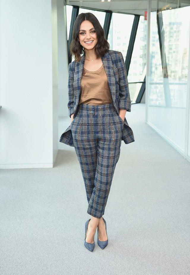 Mila Kunis checked pantsuit