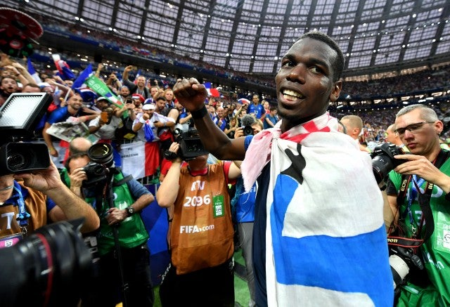 Paul Pogba of France celebrates victory following the 2018 FIFA World Cup Final between France and Croatia at Luzhniki Stadium on July 15, 2018 in Moscow