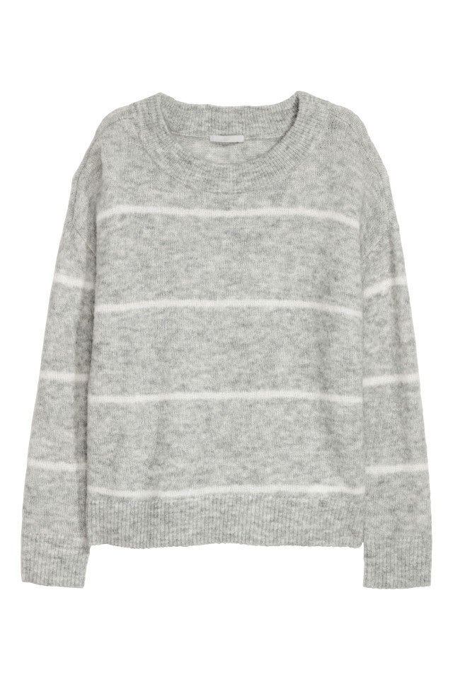 H&M gray striped sweater